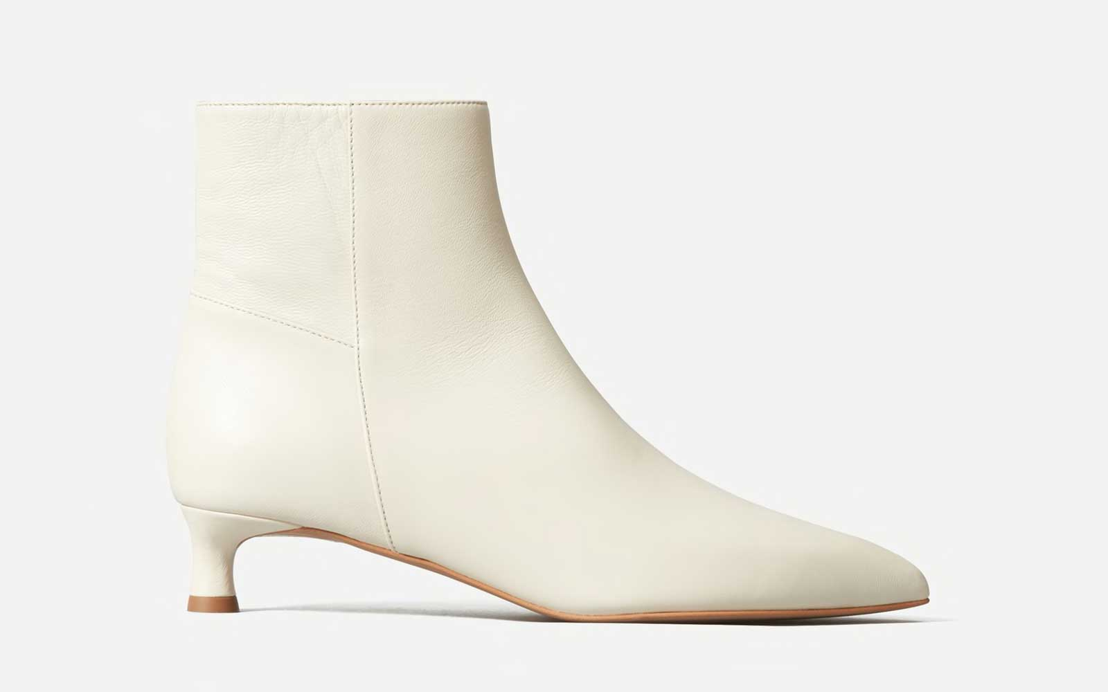 White Ankle Heeled Boot