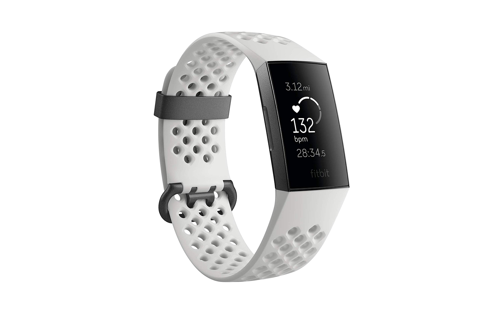 Fitbit Fitness Activity Tracker Graphite/White Silicone