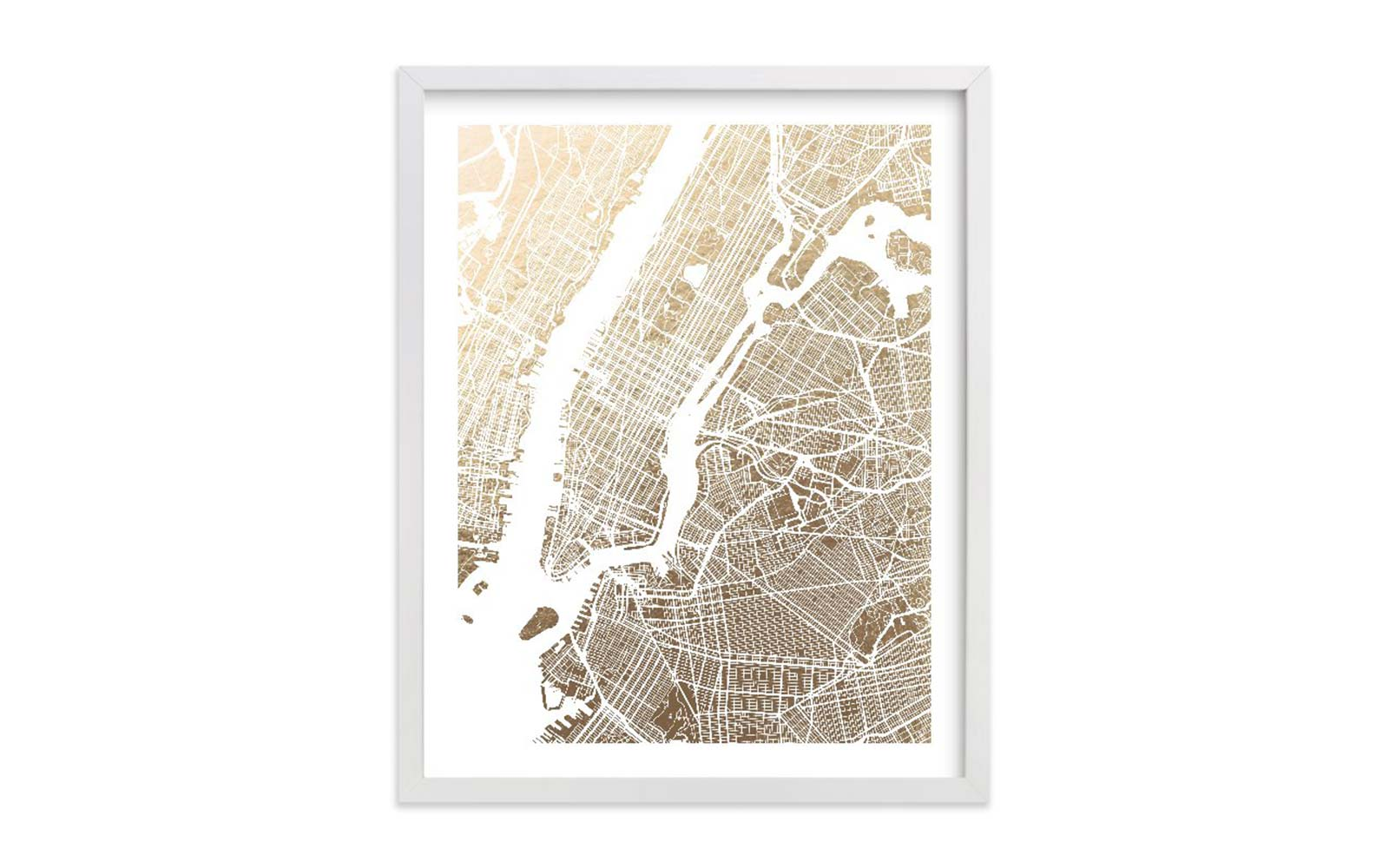 foil pressed map prints