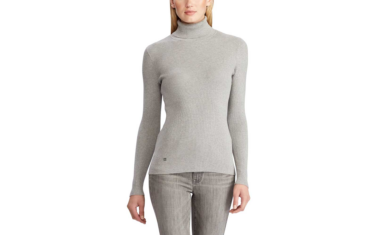 Fitted Grey Turtleneck Sweater