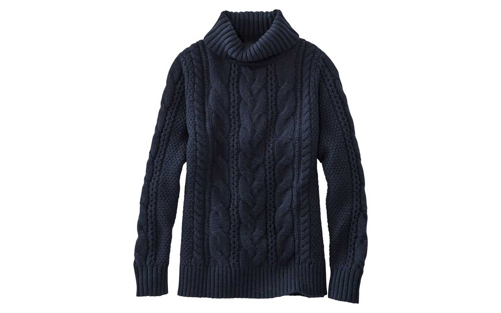 Navy Cable-knit Turtleneck Sweater