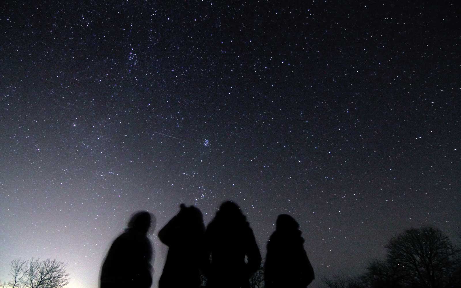 Astronomer observe the Gemenids meteor shower in the observatory of Avren, East of the Bulgarian capital Sofia