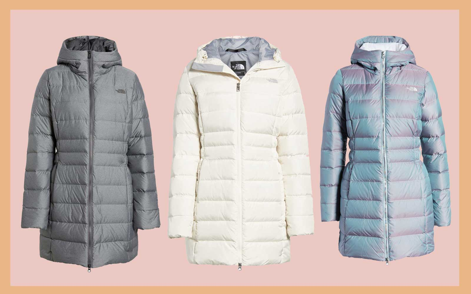 Grey, White, and Iridescent Blue North Face Women's Parkas