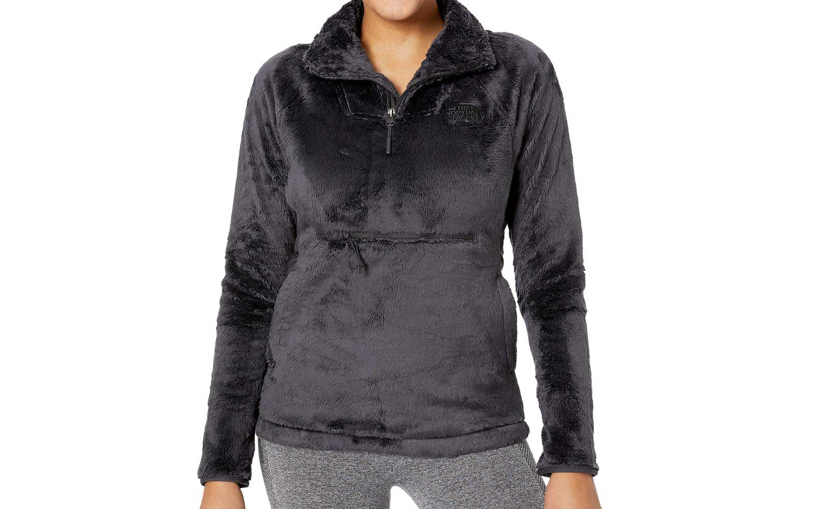 Women's North Face Black Grey Quarter Zip Pullover
