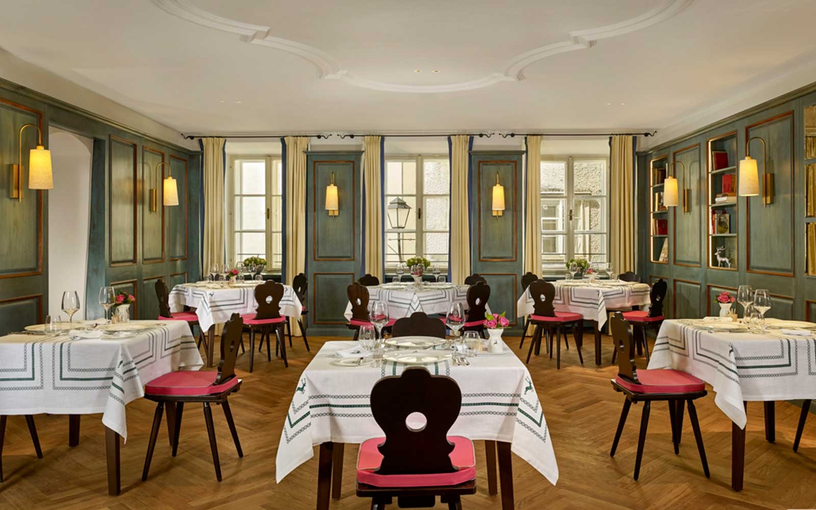 The restaurant at Hotel Goldener Hirsch in Salzburg, Austria