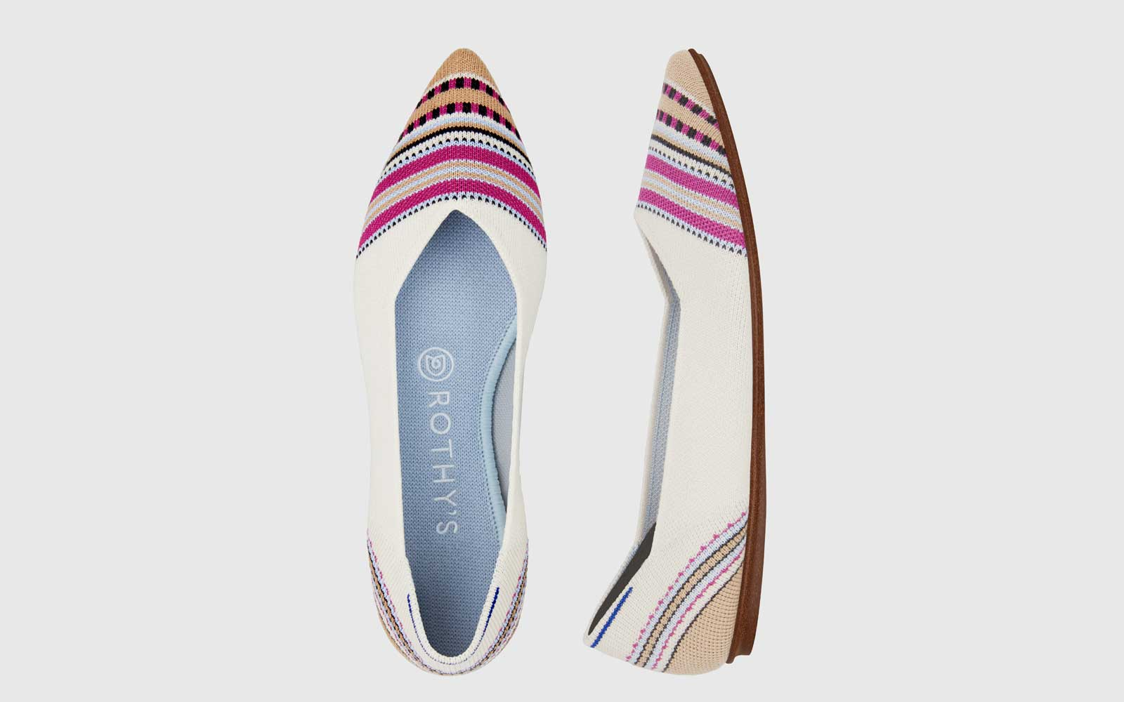 Rothy's Ivory Striped Point Flats
