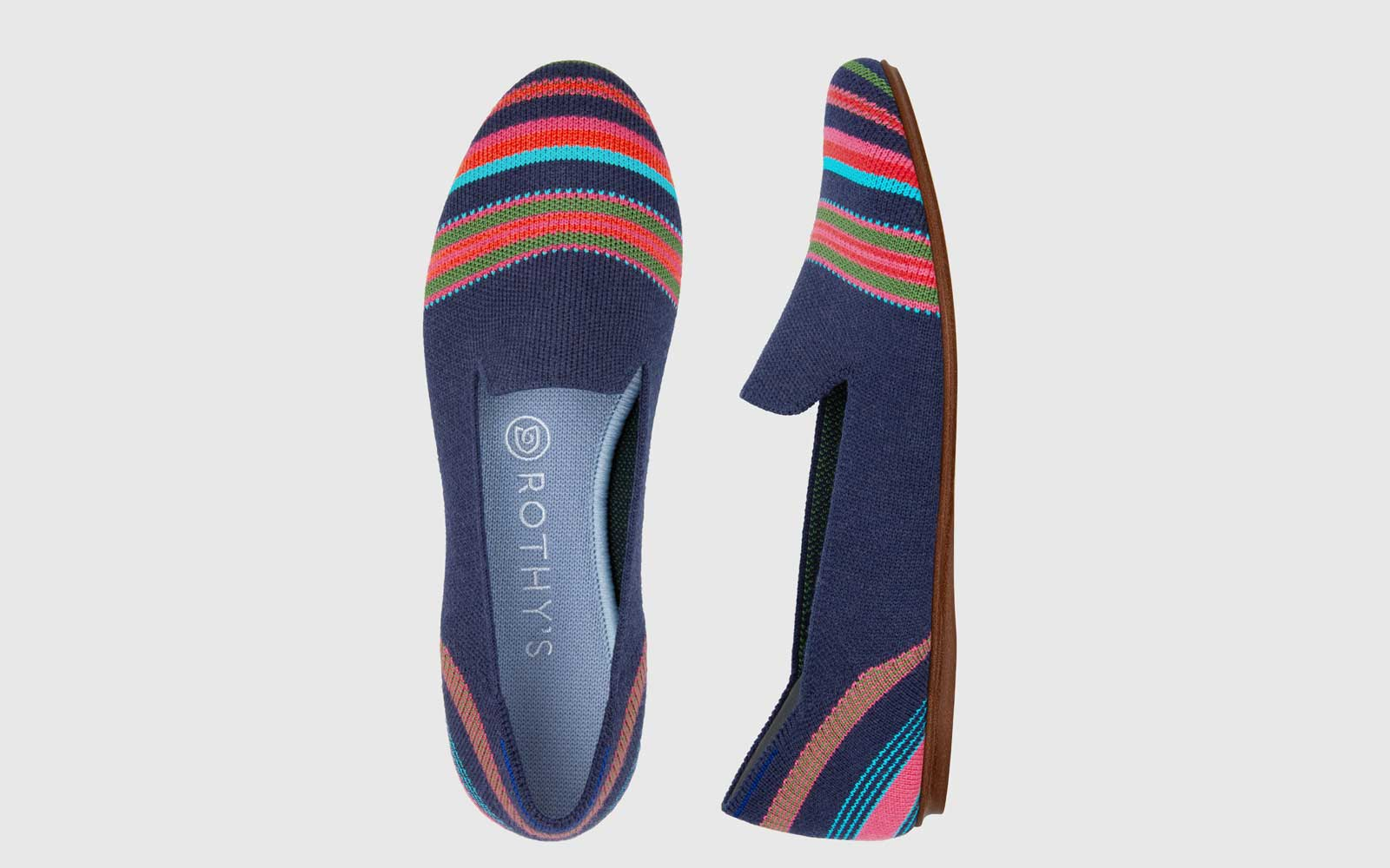 Navy Rothy's Striped Loafers