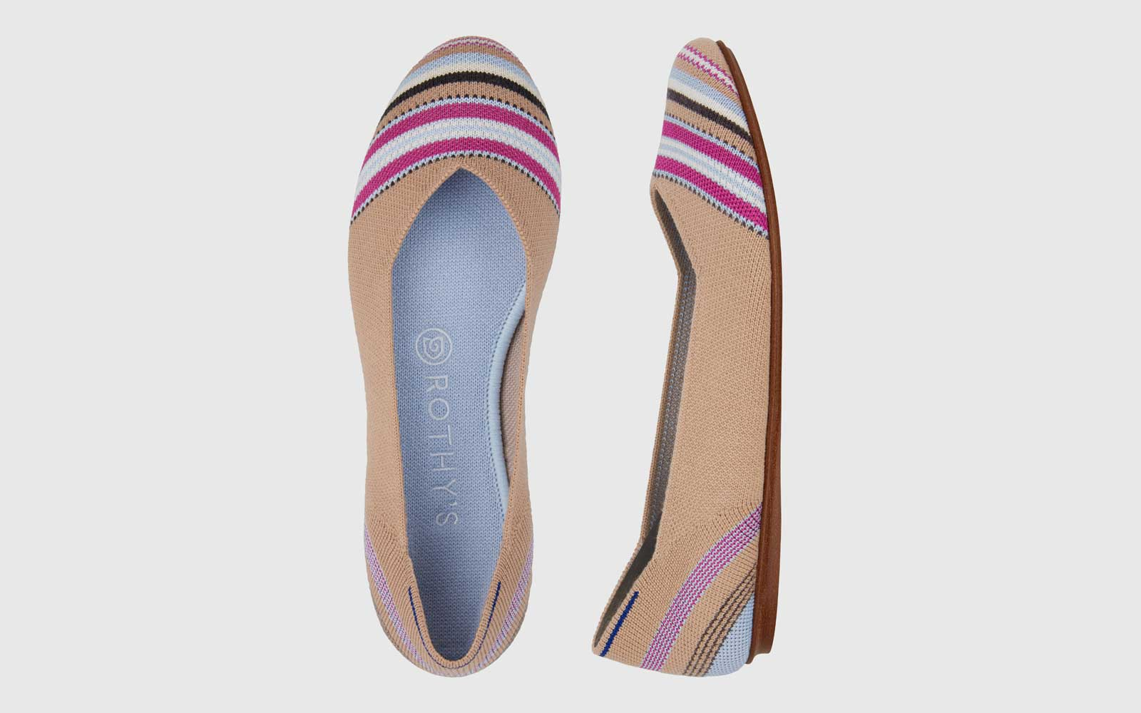 Rothy's Camel Striped Flats