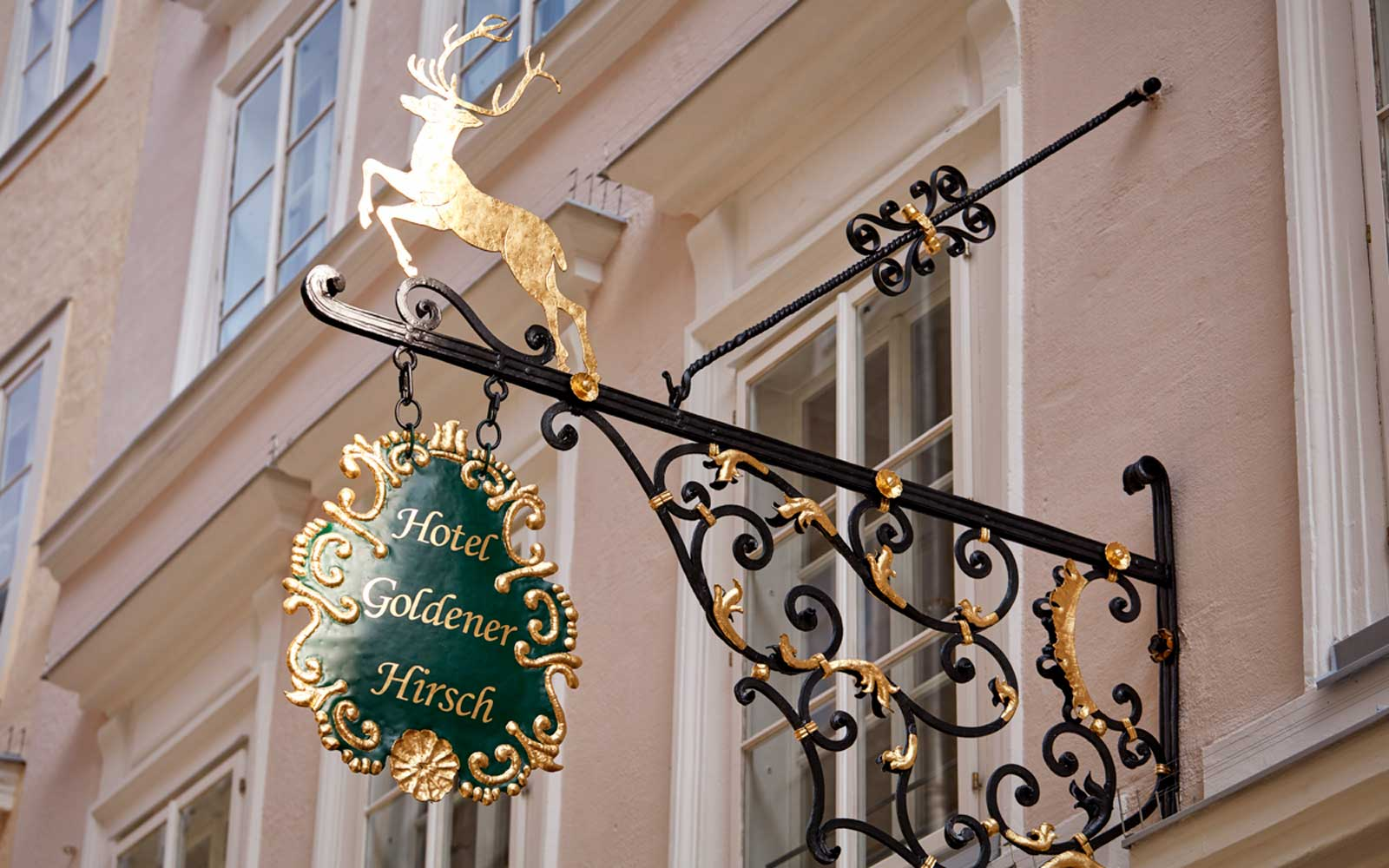 Sign for Hotel Goldener Hirsch in Salzburg, Austria