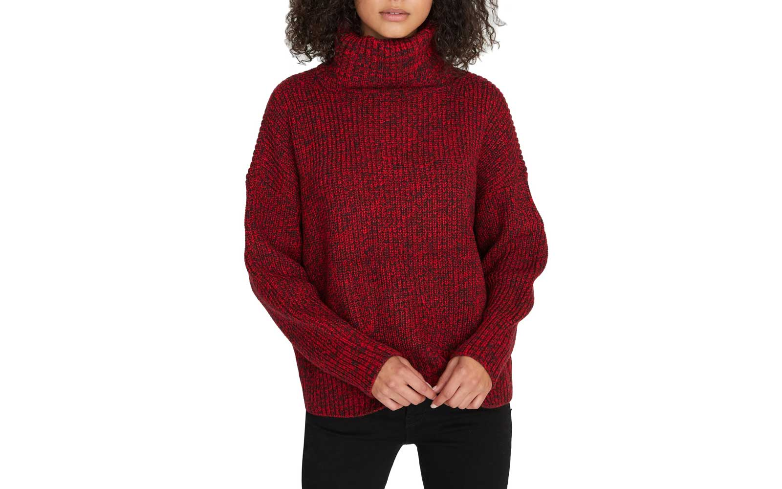 Red Knit Turtleneck Sweater