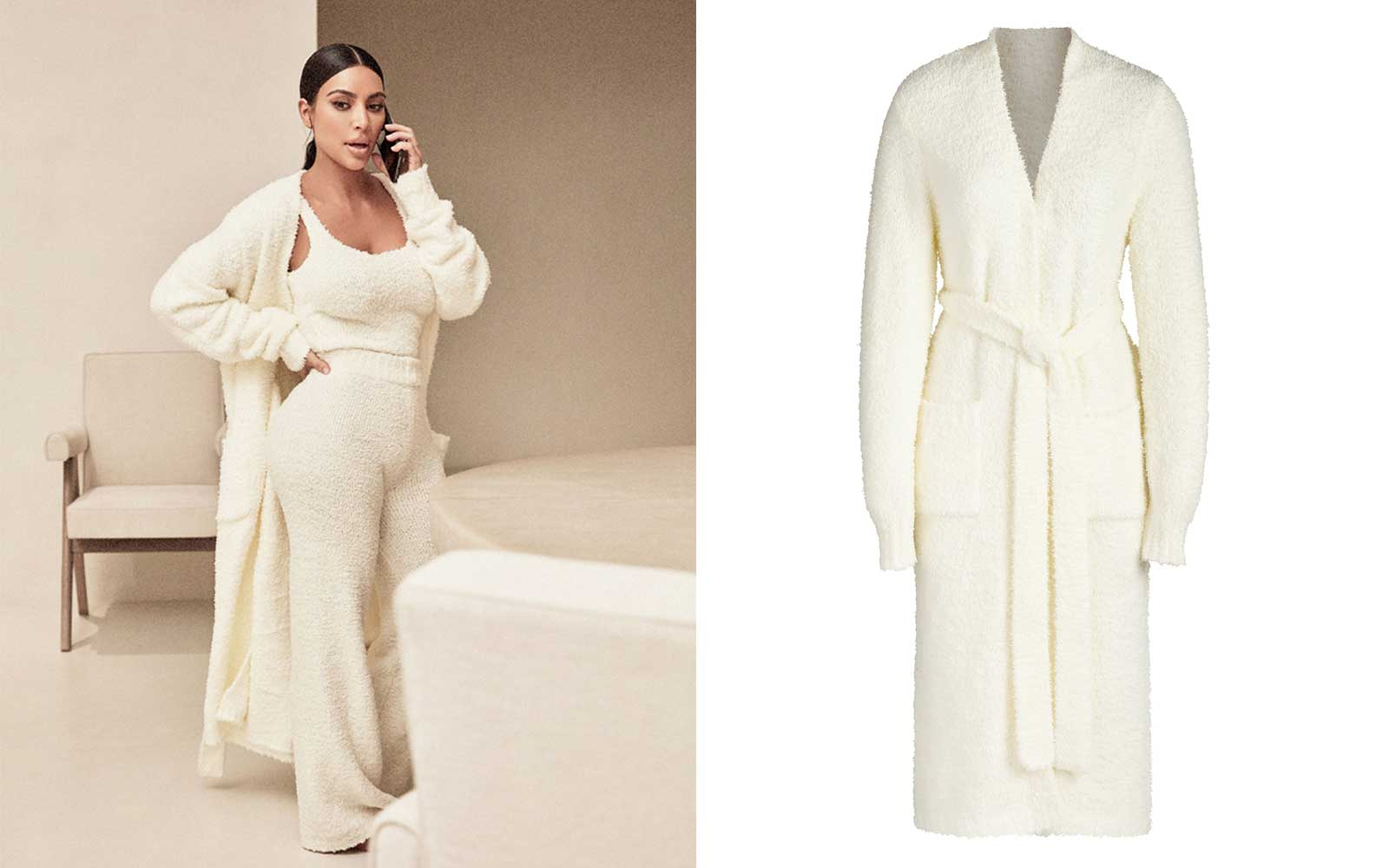 Cream Knit Bathrobe