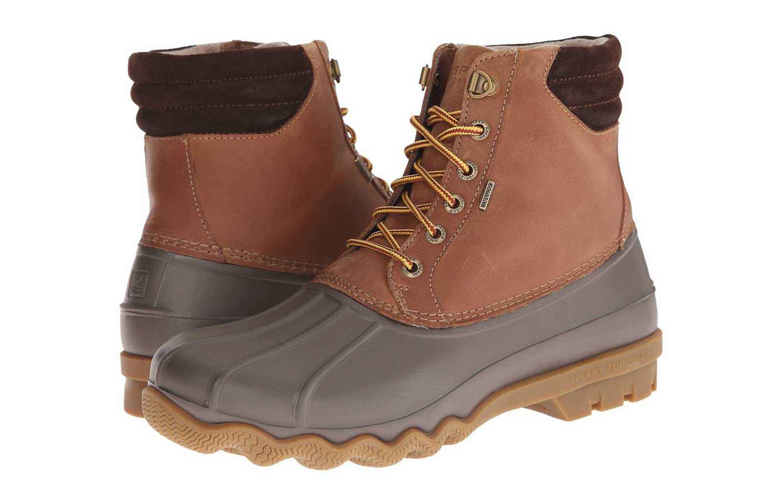 Men's Brown and Grey Lace-up Leather Waterproof Boot