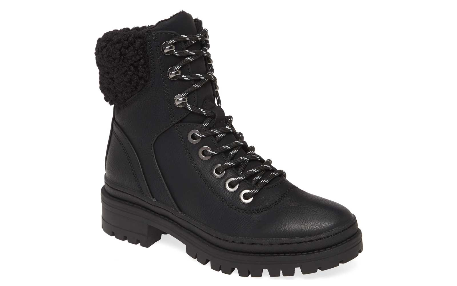 Black Leather Lace-up Women's Boots