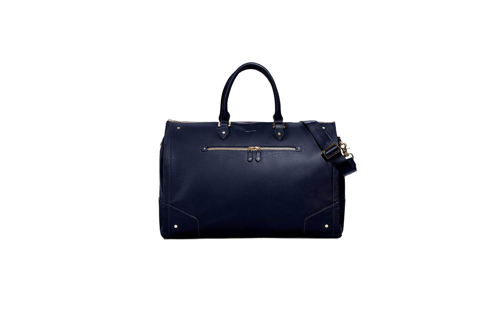 Hook & Albert, Women's Navy Leather with Gold Hardware Weekender Bag, Best Gifts for Business Travelers