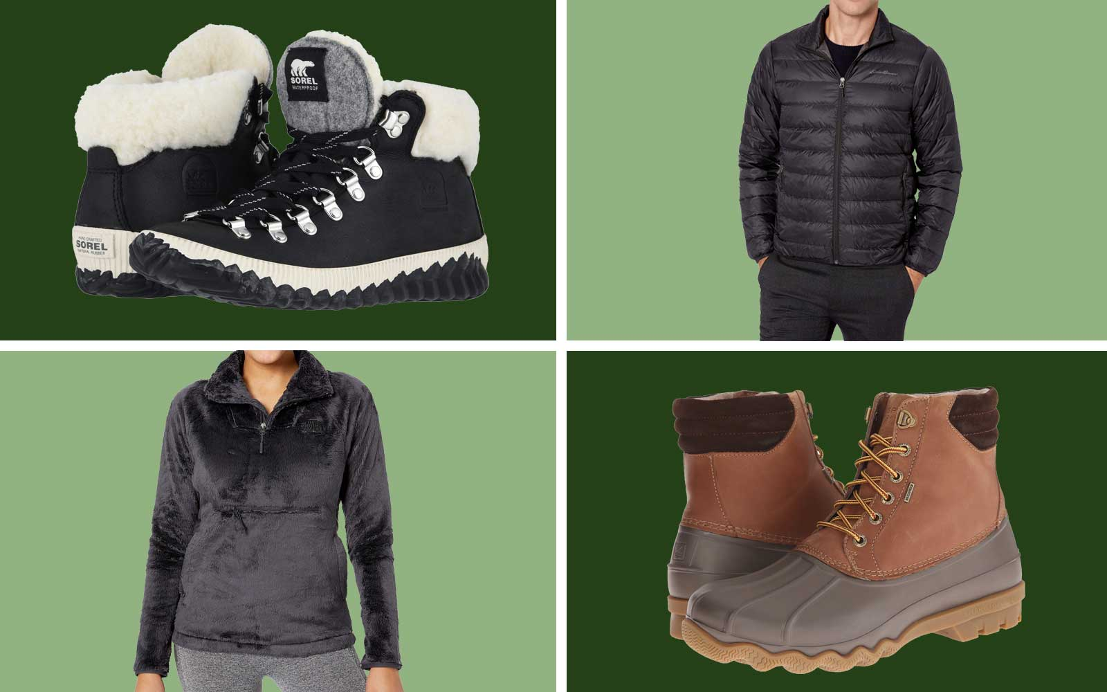 Puffer Coat, Fleece Jacket, and Snow Boots