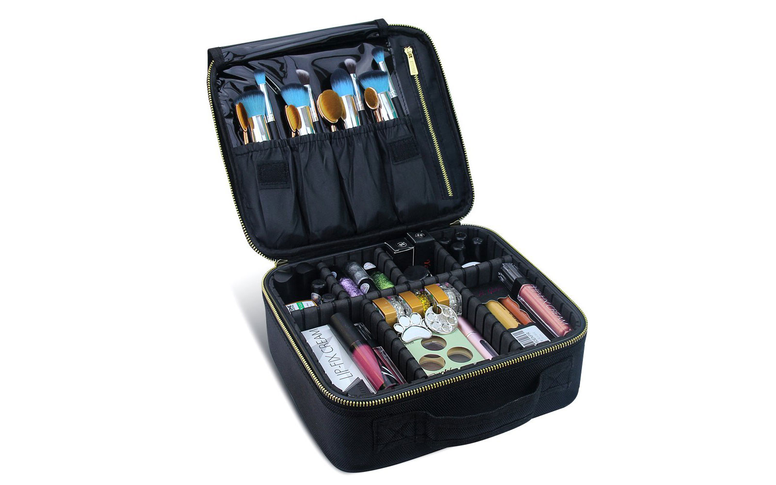 Black Fold Open Makeup Case