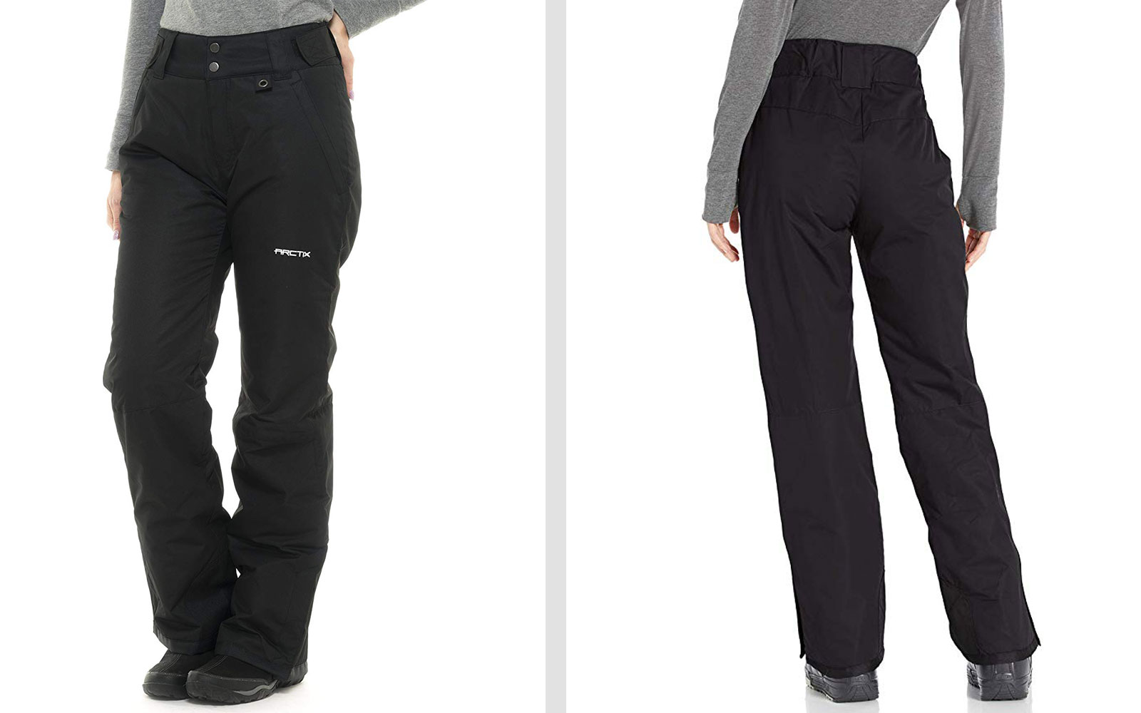 Front and Back of Black Women's Snow Pants