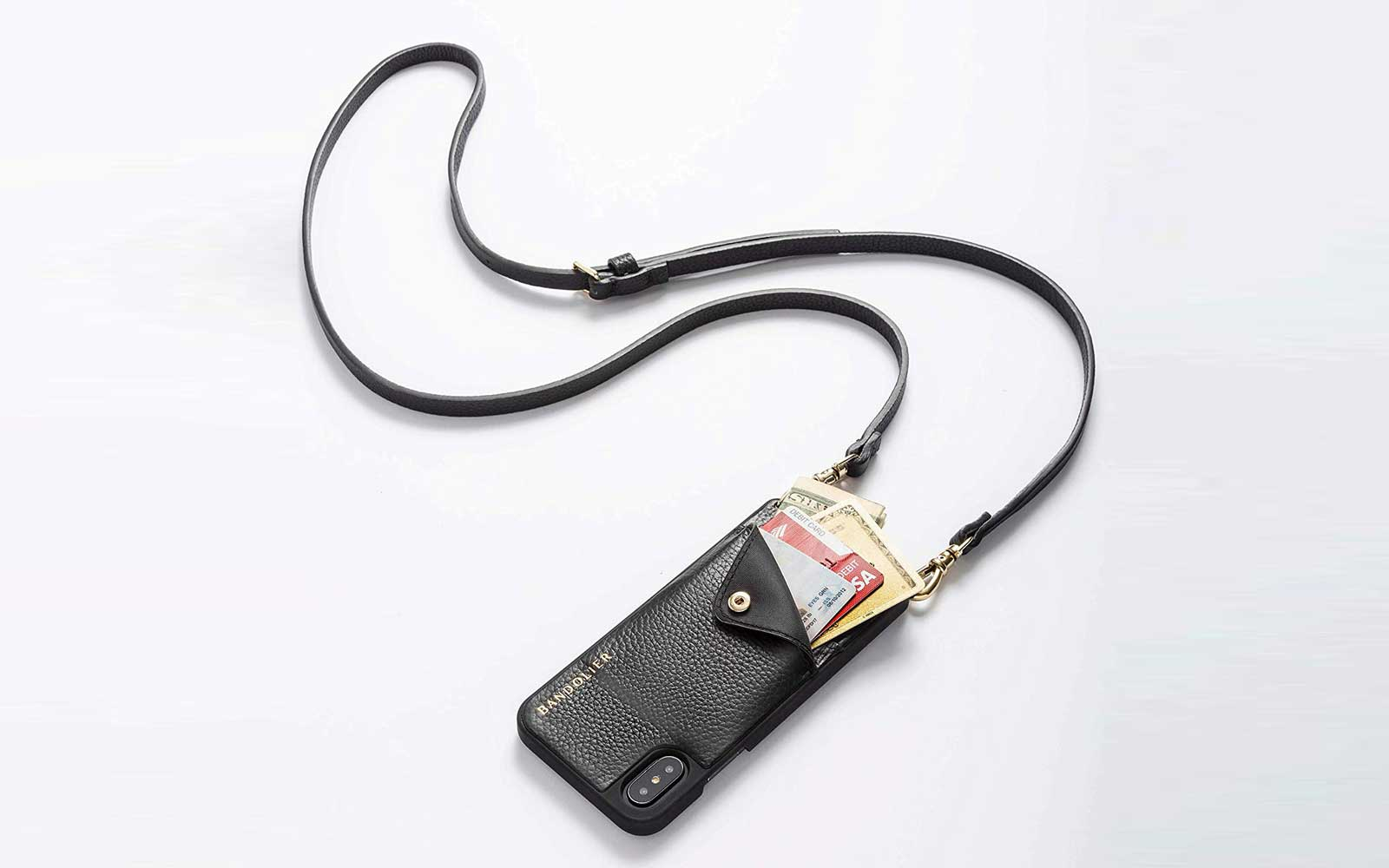 Black Leather Phone Wallet Crossbody