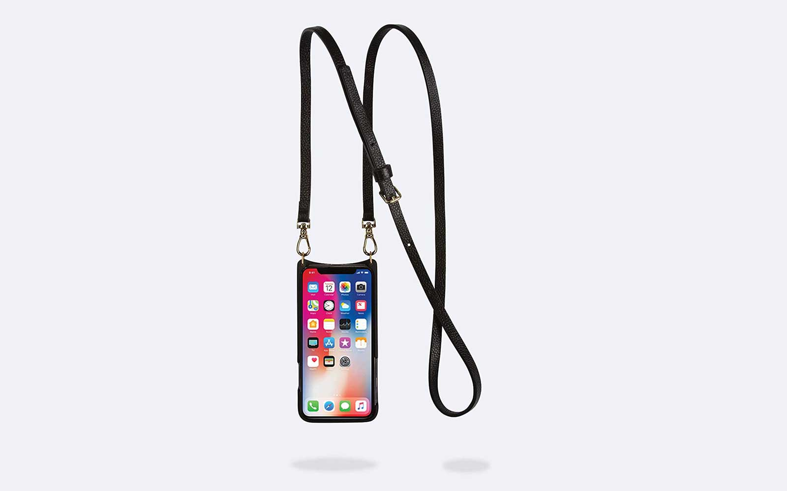 Black Leather Phone Case Crossbody Bag