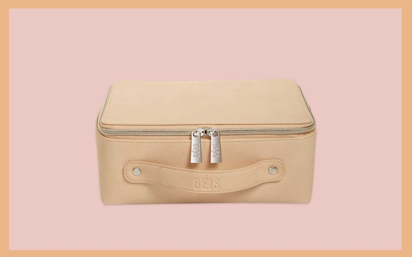 Beige Leather Cosmetic Case