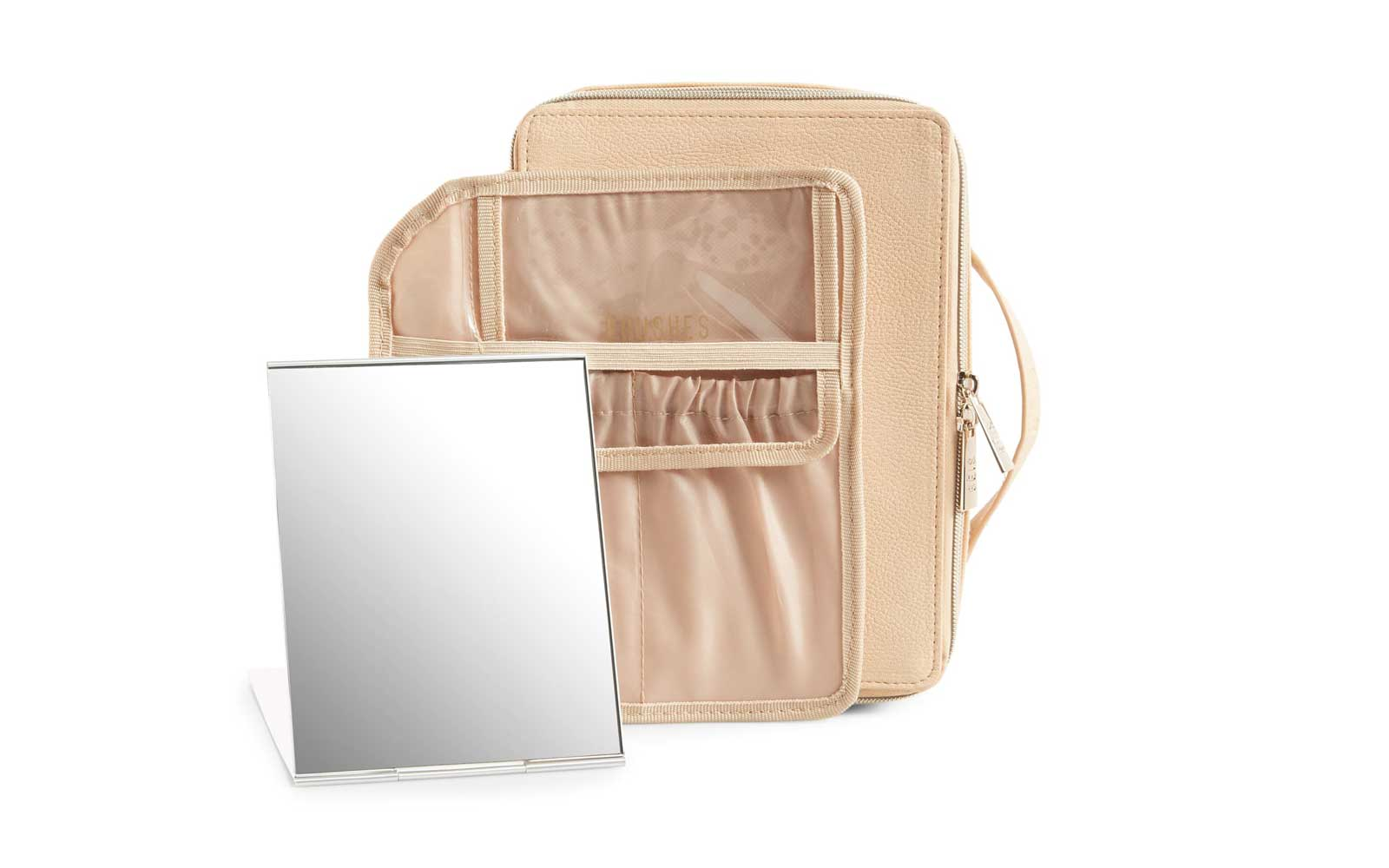 Beige Leather Cosmetic Case and Travel Mirror
