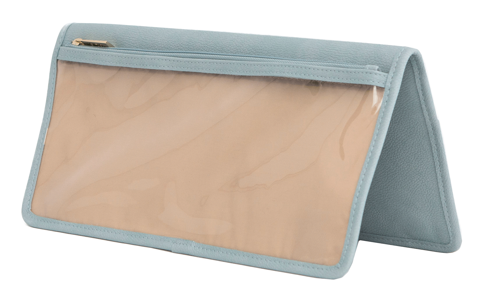 Blue and Tan Faux Leather Organizer Pouch