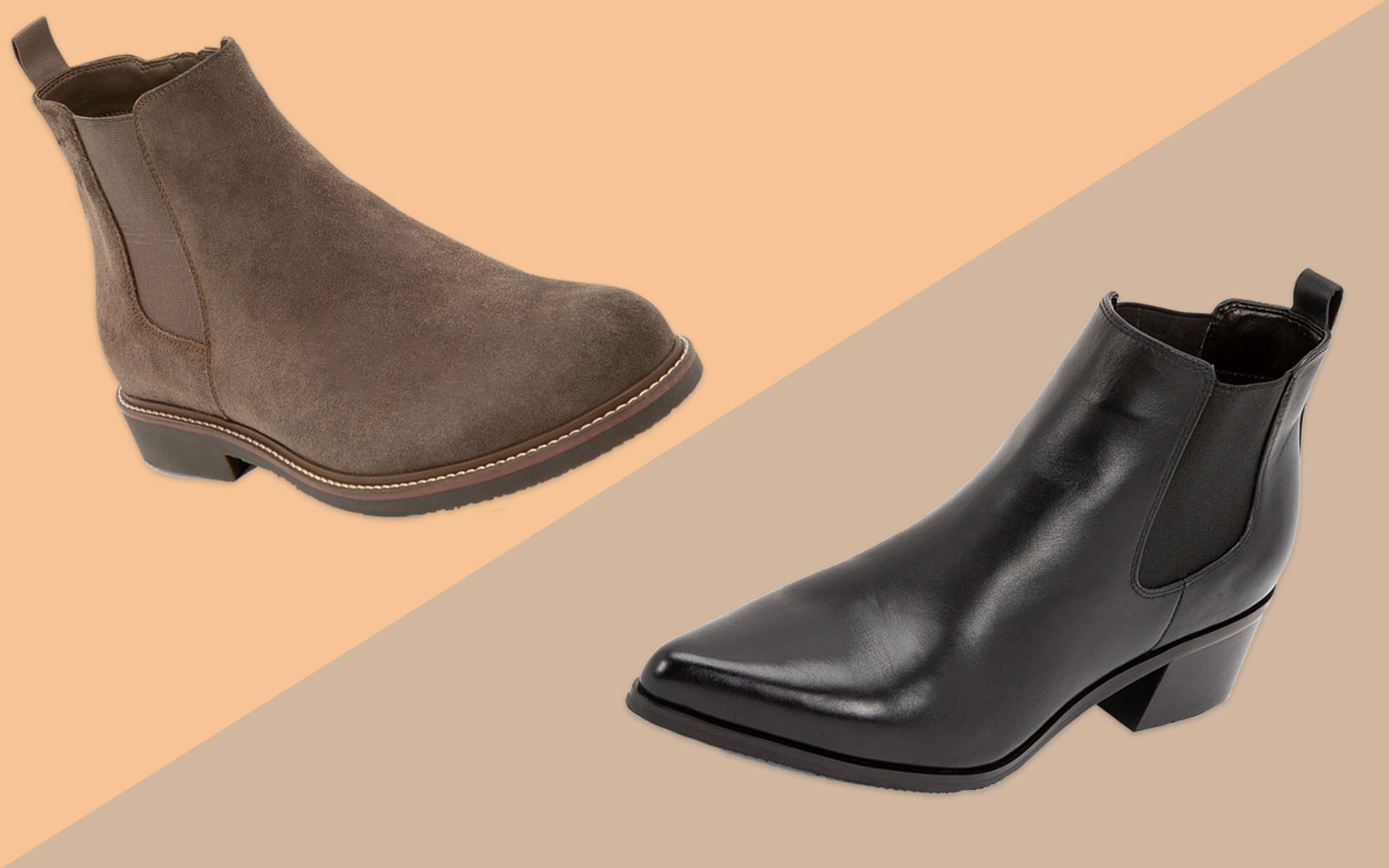 Men's Brown Leather Chelsea Boots and Women's Black Pointed Toe Leather Chelsea Boots