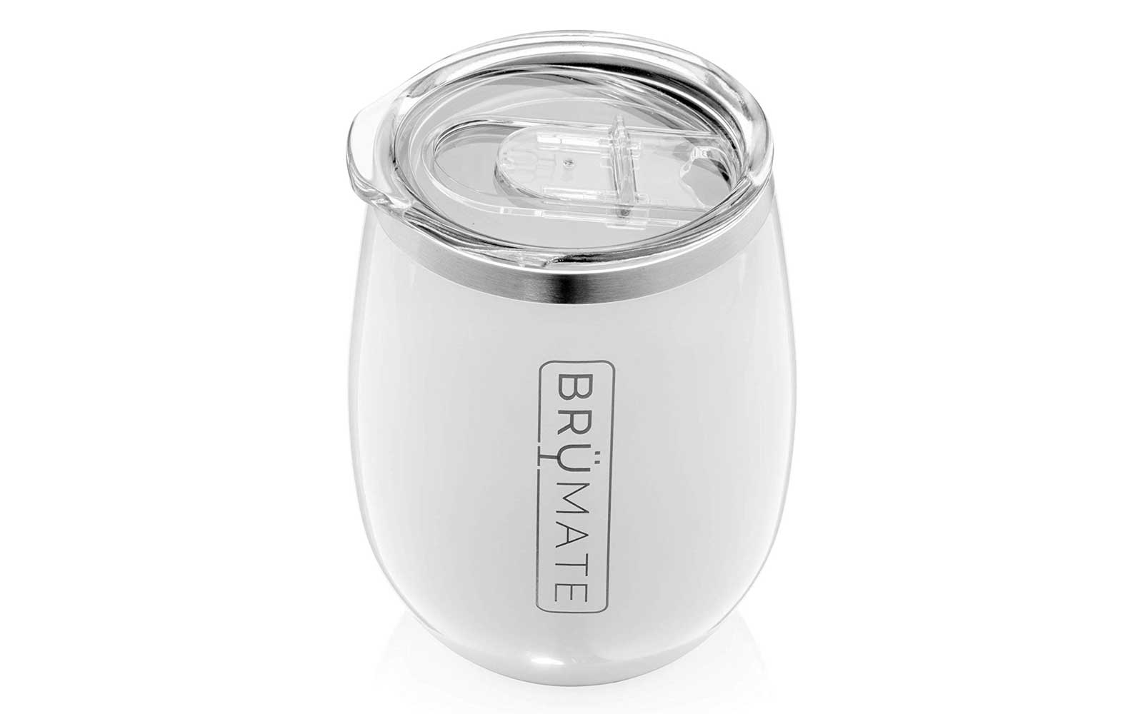 White Reusable Wine Tumbler with Lid