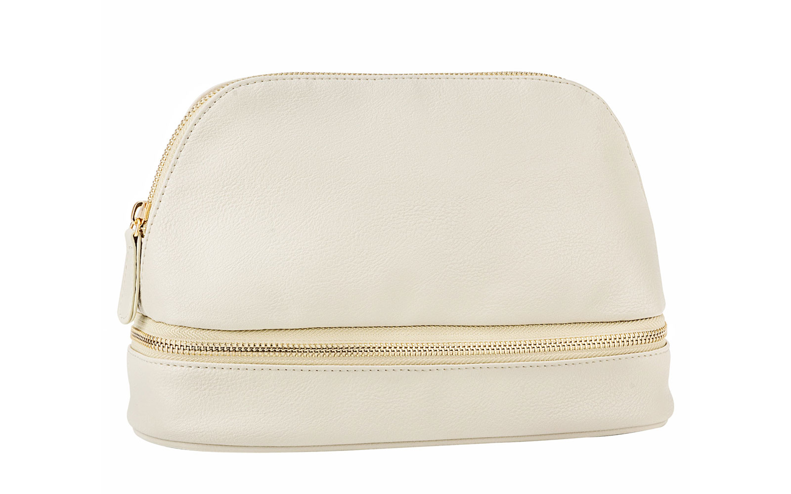 Grey Leather Makeup Bag with Gold Zipper