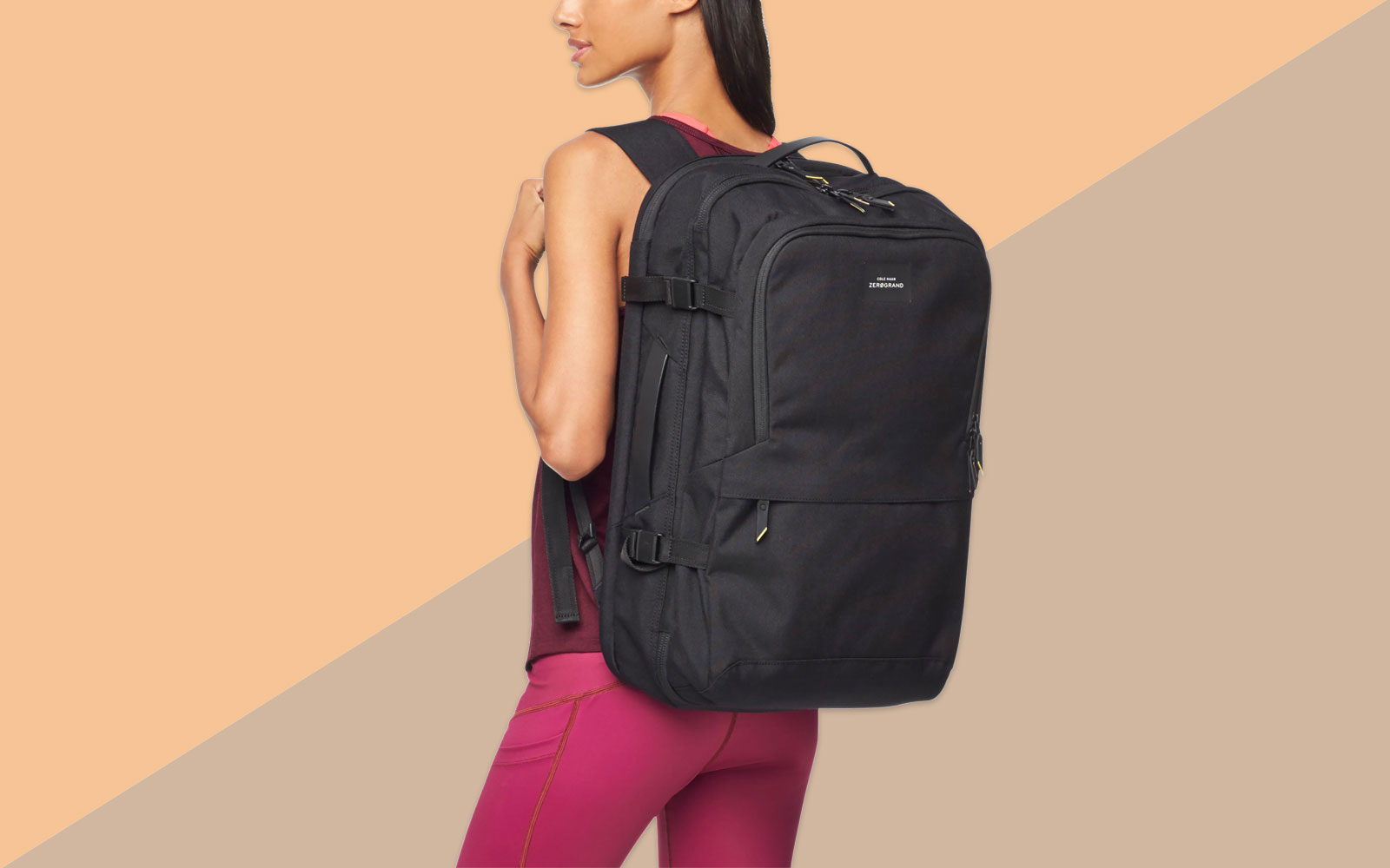 Woman Carrying Black Travel Backpack