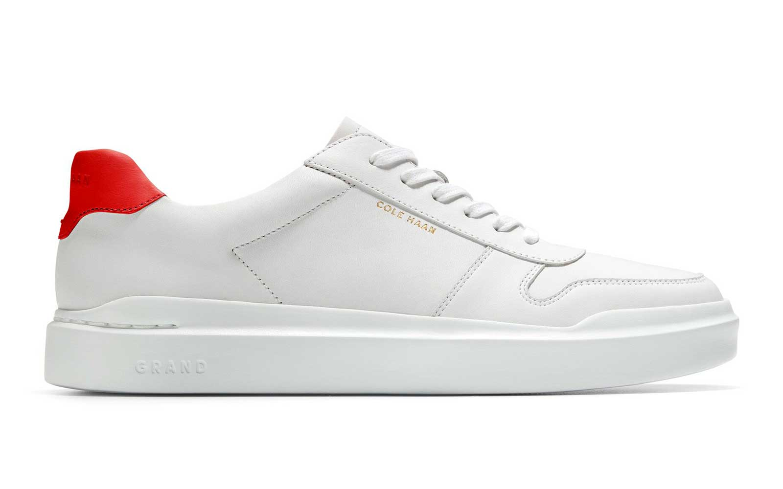 White and Red Leather Women's Sneaker