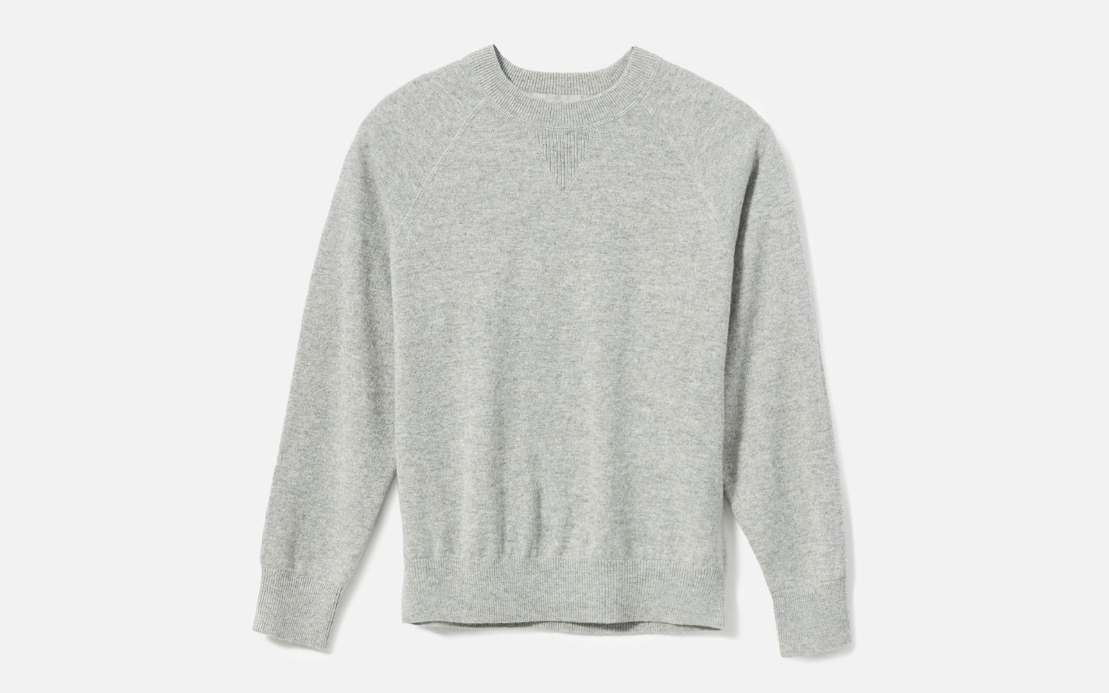 Grey Cashmere Crewneck Sweater