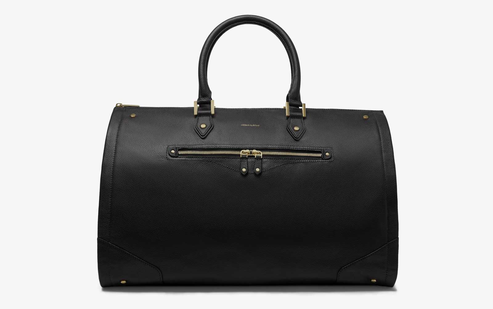 Black Leather Weekender Bag