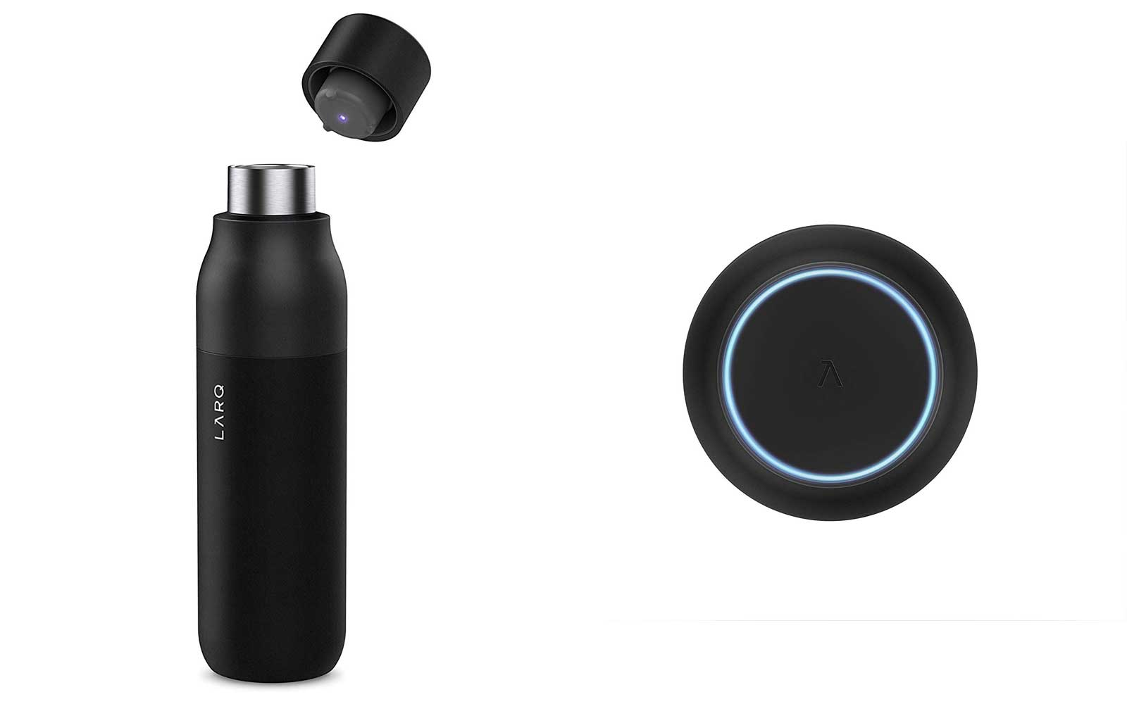Black Reusable Water Bottle and Cap