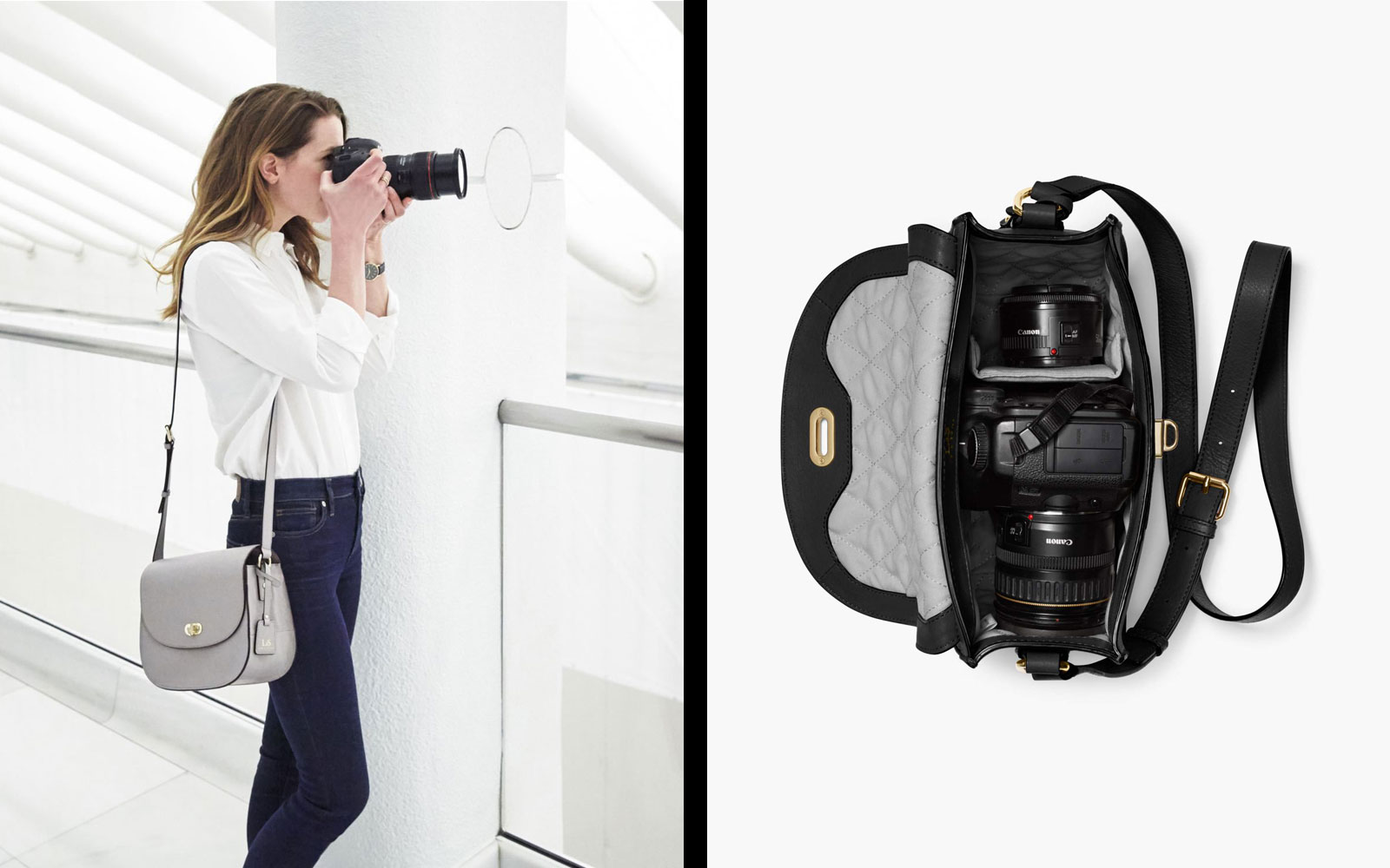 Grey Leather Crossbody Camera Bag on Model and Interior of Bag