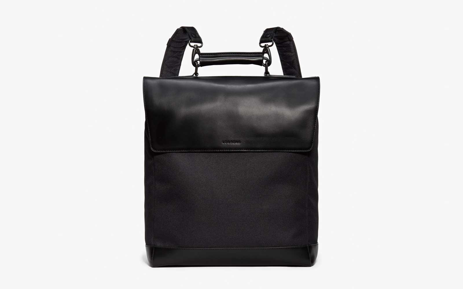 Black Square Leather Backpack