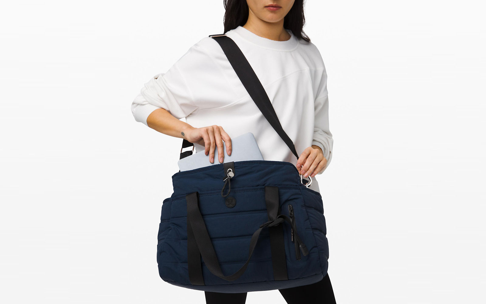 Navy and Black Quilted Duffel Tote