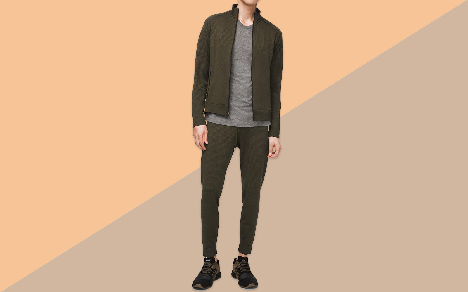 Men's Dark Green Merino Wool Jacket and Jogger Sweatpants on Model