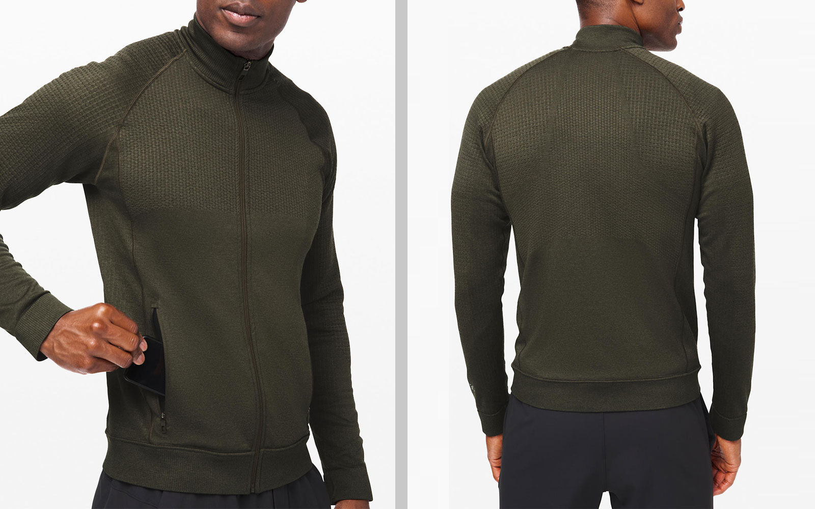 Men's Dark Green Merino Wool Jacket Front and Back