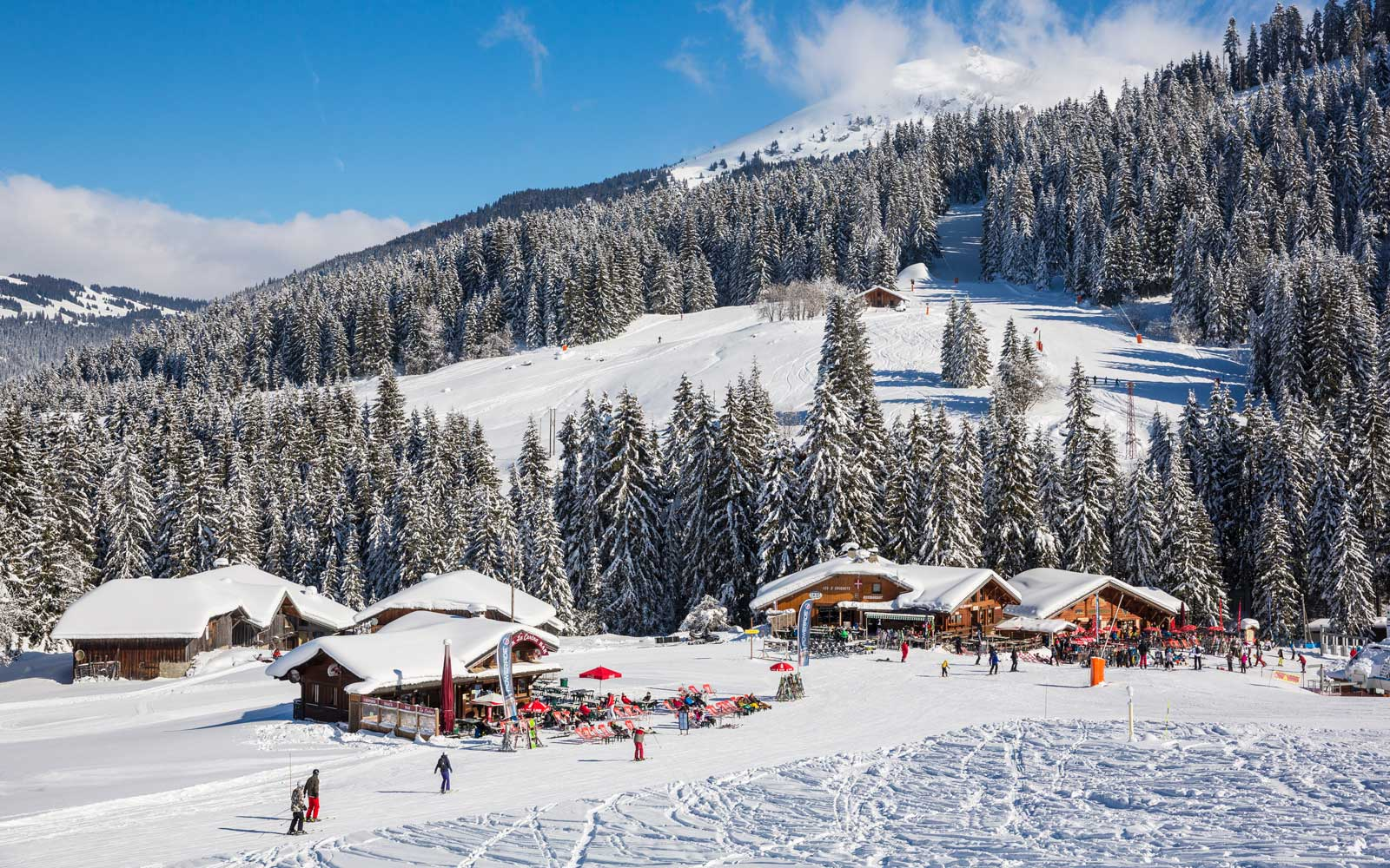 Skiiers in Morzine, France