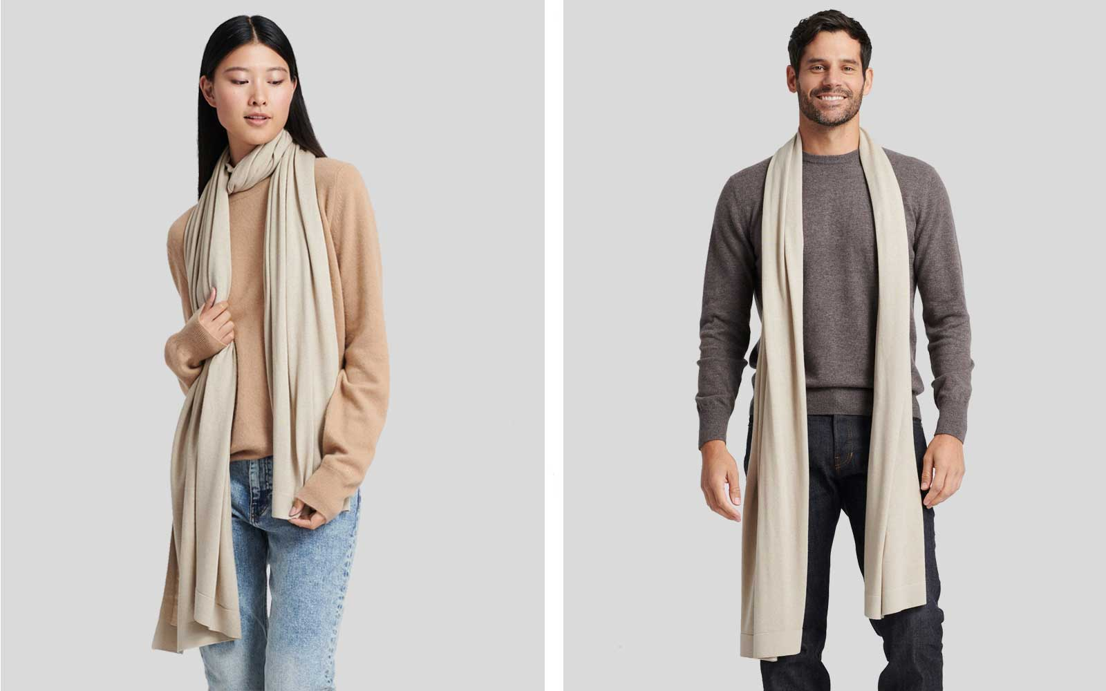 Man and Woman Wearing Tan Cashmere Wrap Scarf