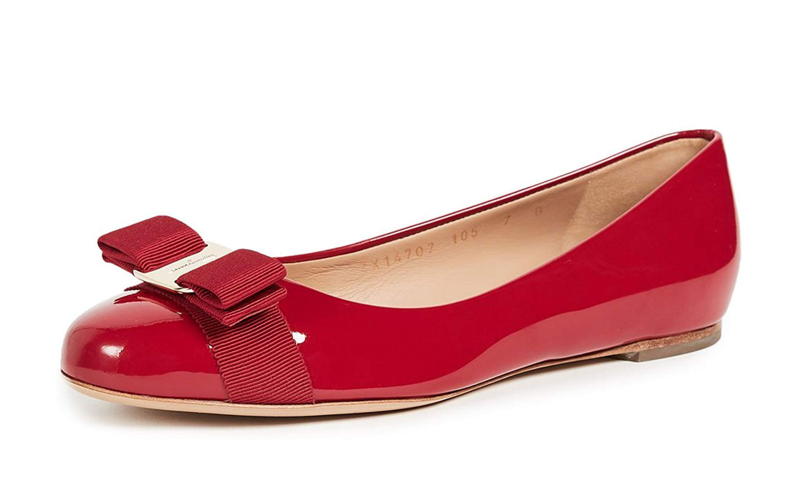 Red Leather Ballet Flats with Bow