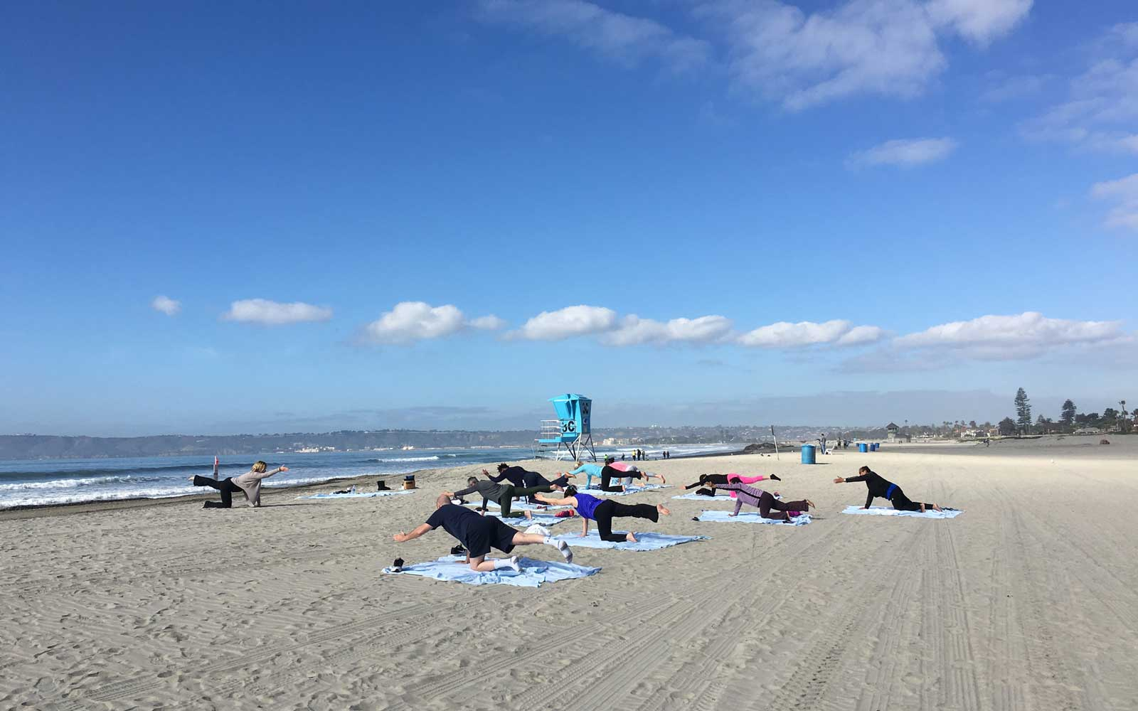 Yoga on Coronado Island Beach, San Diego