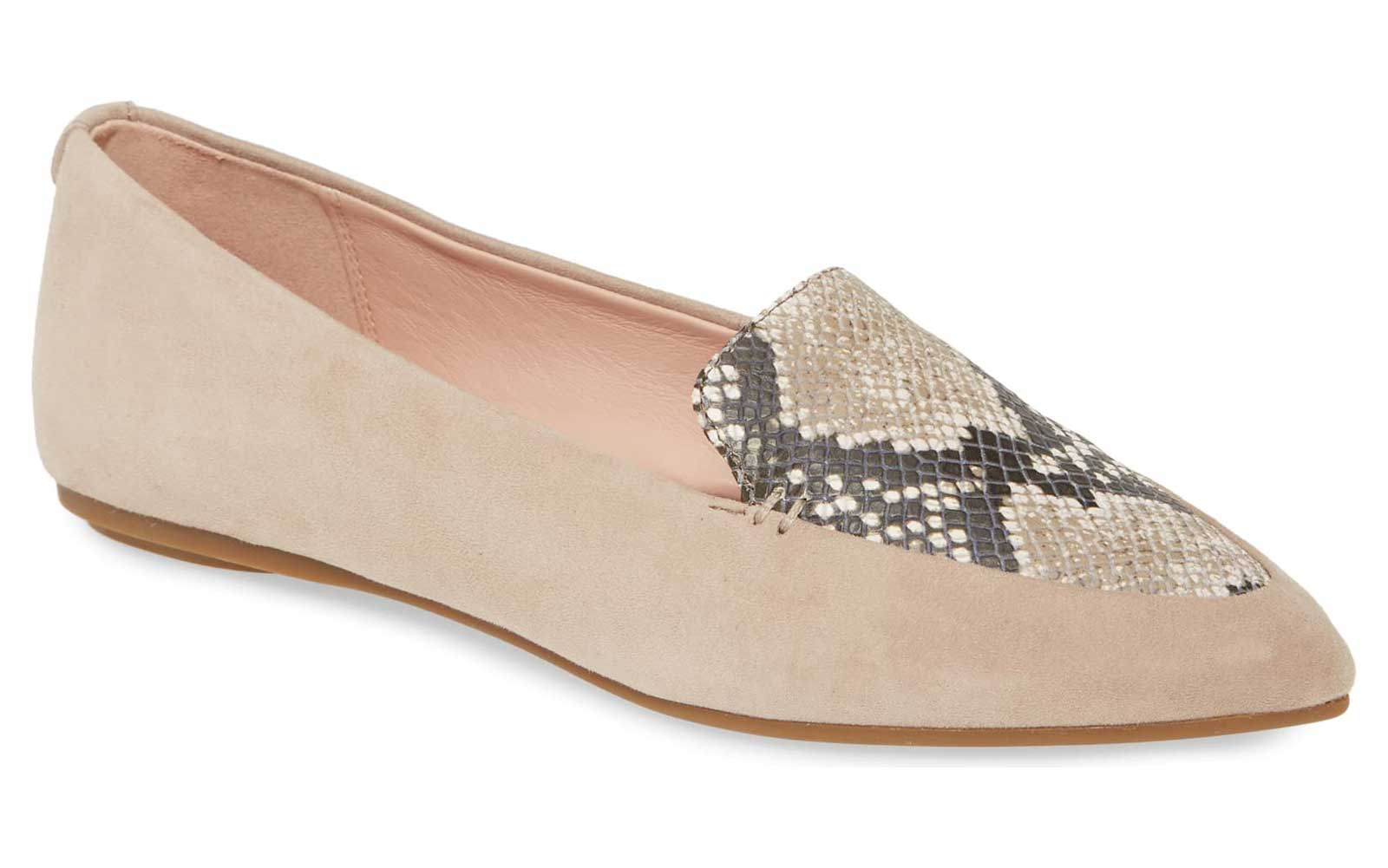 Tan and Snakeskin-print Pointed Toe Loafers for Women