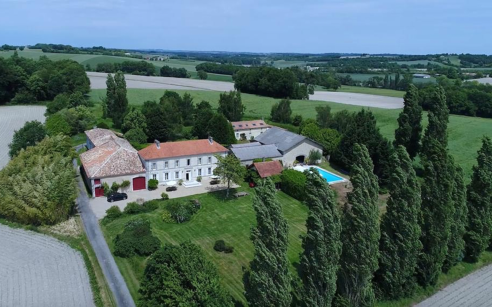 Aerial view of resort that hosts the ThreeSixty Retreats yoga experience in Bordeaux, France