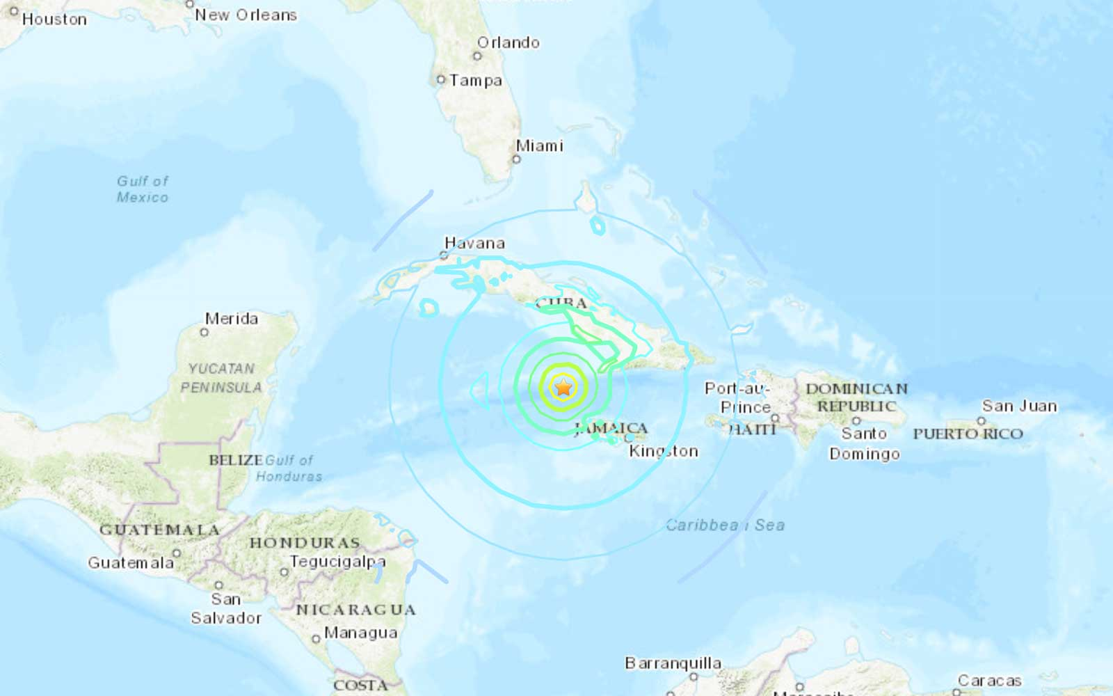 Map via USGS of 7.7 Magnitude Earthquake the hit between Jamaica and Cuba on January 28, 2020.