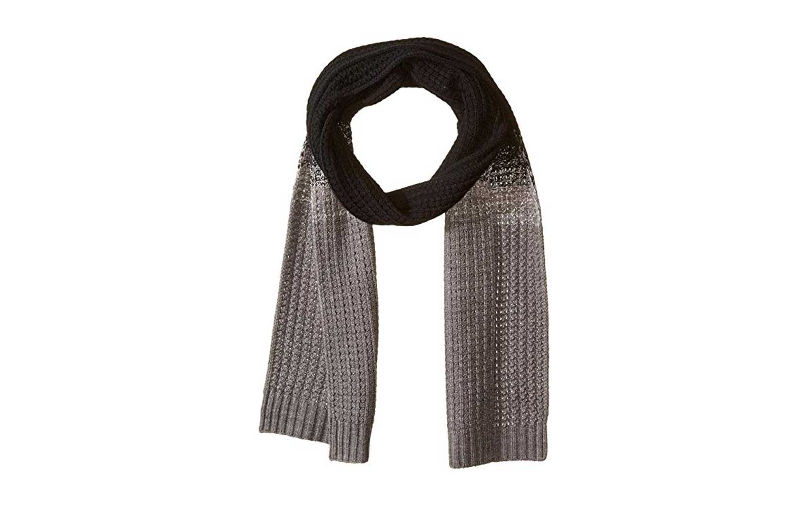 Women's Grey and Brown Knit Scarf