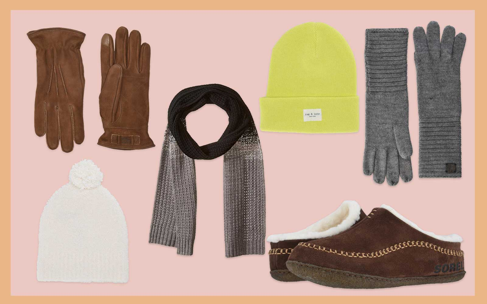 Brown and Grey Gloves, Brown Shearling Slippers, White and Yellow Hat, Brown Scarf