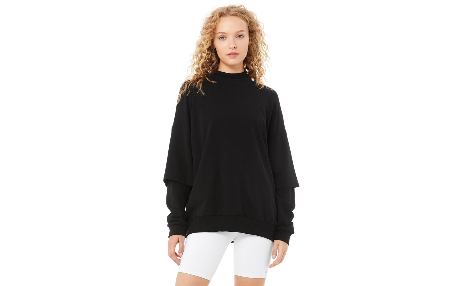 Women's black long sleeve sweatshirt