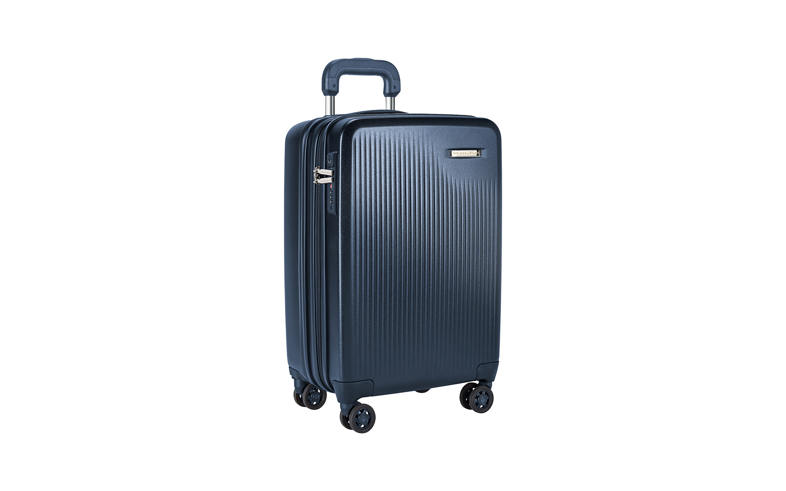 Briggs & Riley blue hard shell expandable Suitcase